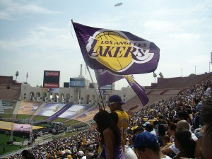 Laker Fans in 2009 Laker faithful sporting their team back in 2009. Mario Pineda  mstickmanp / Picture taken by above named in June 2009. Picture down loaded from flicker. . Taken on June